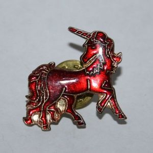 Vintage red and gold unicorn pin